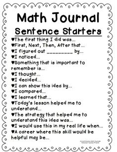 I use math journals in my Math Workshop. I like the idea of using Math Journal Sentence starters with my students. This would serve as a great way to incorporate writing in math and allow students to expand their thinking. Math Strategies, Math Resources, Multiplication Strategies, Anchor Charts, Communication Orale, Daily 5 Math, Daily 3, Math Talk, Fourth Grade Math