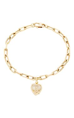 Love Bracelet by LOQUET LONDON. To receive on time for Valentine's Day please order before January 15th. 14K Yellow Gold 18K Yellow Gold Customizable Diamond Letter Charm Diamonds,This bracelet chain measures 19in in length.$3,290.