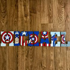 Captain America Custom Letters - Captain America, Avengers, Ironman, Wood Letters, Thor by ArtsyAutly on Etsy Painted Letters, Wood Letters, Hand Painted, Craft Letters, Nursery Letters, Captain America Party, Captain America Birthday, America Themed Party, Hero Crafts