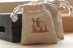 muslin gift favor RaBbiT x 10, muslin favor bags, gift bags for kids party, baby shower, Easter goody bags. $12.00, via Etsy.