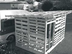 Recycled Pallets Ideas Rural Canadian shares how to build a garden shed with unconventional building plans and recycled pallet wood. - Rural Canadian shares how to build a garden shed with unconventional building plans and recycled pallet wood. Wood Shed Plans, Diy Shed Plans, Storage Shed Plans, Barn Plans, Diy Storage, Garage Plans, Building A Chicken Coop, Building A Shed, Building Plans