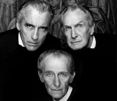 peter cushing and christopher lee | Christopher Lee, Vincent Price and Peter Cushing Watched alot of old scary movies with these guys :)