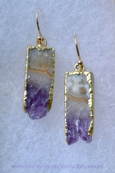 Beautiful amethyst slice earrings with gold electroplating. For sale on Etsy - Stately Oaks Jewlery