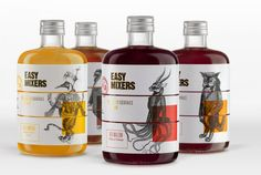 "Easy-Mixers or how to reinvent the classic cocktail with the ""exquisite cadaver"" - Winner - Packaging - German Design Award Visual Merchandising, Label Design, Graphic Design, Package Design, Branding, Packaging Design Inspiration, Design Packaging, Ad Art, Cocktail Making"