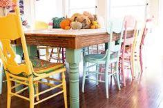 Resultado de imagem para cadeiras e mesas coloridas