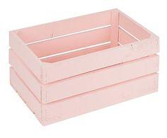 Caja grande de madera de pino, rosa - 30x50 cm