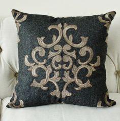 Schumacher Gray Wool Geometric Pillow Cover by MotifPillows, $90.00+