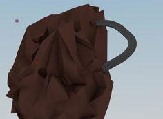blenderで作成したビー玉ころがしです。岩の中で実はレインボーブリッジのように一周していますが見えませんね。。