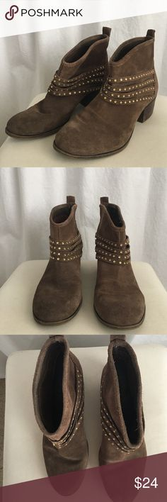 Brown suede ankle booties ! Brown, distressed styler, Jessica Simpson line, gold embellishments around ankle part, slight heel, very comfortable, slightly worn Jessica Simpson Shoes Ankle Boots & Booties