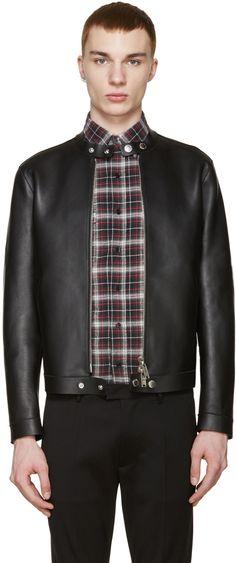 7fe5528bcf6c DSQUARED2 Black Leather Simple Biker Jacket.  dsquared2  cloth  jacket