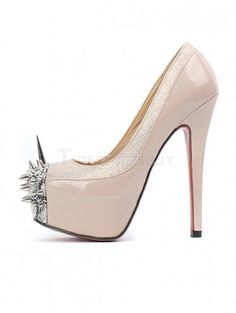 Cap Toe Spike Heel PU Leather High Heels for Woman