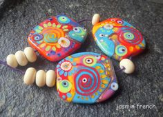 jasmin french ' playtime ' lampwork beads set by jasminfrench