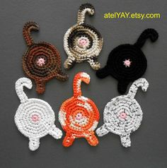 Cat Butt Coasters READY 2 SHIP! No Waiting! 6 Hand Crochet Cat Butt Coasters - 100% Cotton - Set of 6 Assorted Colors