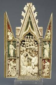 The Coronation of the Virgin triptych, unknown maker, 1360-1370. Museum no. 143-1866-The Gothic style first appeared in the 12th century in the area around Paris. In architecture, Gothic buildings employed a variety of new techniques to pierce walls with larger windows and to build loftier spaces. In sculpture and the other figurative arts, the style combined the detailed observation of nature with an expressive elegance. Gothic quickly spread throughout European...........