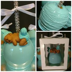 Baby shower Candy Apples . Baby Shower Snacks, Baby Shower Candy, Caramel Candy, Caramel Apples, Gourmet Candy Apples, Tiffany Baby Showers, Chocolate Covered Apples, Cute Candy, Baby Shower Winter