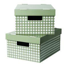 IKEA - PINGLA, Box mit Deckel, grün, 28x37x18 cm, , Behälter mit verstärktem Boden, praktisch zum Aufbewahren, Lagern und auch zum Umplatzieren schwererer Gegenstände wie Bücher usw.Mit Selbstklebeetiketten für einfaches Markieren, Ordnen und Wiederfinden.Durch Öffnungen auf beiden Seiten einfach zu tragen und umzustellen.