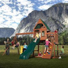 Timber-Bilt - Knightsbridge Wood Complete Play Set - PB - Home Depot Canada Wood Swing Sets, Wooden Playset, Swing And Slide, Backyard Playground, Backyard Ideas, Climbing Wall, Flag Decor, Kids Corner, Deck Design