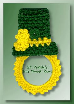 You'll have fun with this St. Patrick's Day top hat that's actually a towel topper.  Embellished with crocheted flowers, this topper is made so the towel can be removed for easy laundering.These products work well for this project!St. Paddy's Hat Towel Ring
