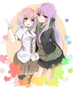 Chiaki and kirigiri dressed as their guys awww