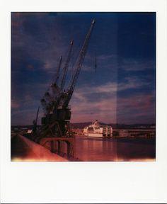 Grues de la Digue du Large #Marseille #Port #GPMM #grues #DigueDuLarge #ferry #polaroid #SX70 / www.marseillepolaroid2013.com