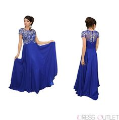 Modest Mother of the Bride Groom Short Sleeve Chiffon Plus Size Formal Long Gown