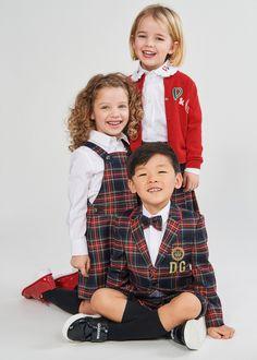 DOLCE & GABBANA FW 20/21 Dolce And Gabbana Kids, Designer Kids Clothes, Pinafore Dress, Sweatshirt Dress, Tartan, Boy Outfits, Kids Fashion, Nursery Ideas, Single Breasted