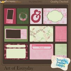 """Art Of Everyday - Journaling Cards {PU/S4H}. Art is everywhere and this new kit is about art in everyday. In this kit you will find hearts, tags and pattern papers in colors of mauve and olive green. Start scrapping your LOs with your Valentine's Day date, any lovely photos you have of family and friends or just anything you think is beautiful. In {Art Of Everyday} Journaling Pack you will find 5 3""""x4 and 5 4""""x6"""" filler cards."""