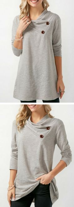 Button Embellished Long Sleeve Draped Sweatshirt on sale only US$32.61 now, buy cheap Button Embellished Long Sleeve Draped Sweatshirt at Rosewe.com
