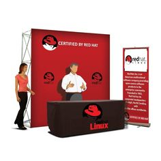 Trade Show Display Booth. Includes: Standard Retractable Banner Stand, Flat Trade Show Back Wall, Convertible Table Cloth Event Branding, Branding Kit, Marketing Branding, Convertible Table, Trade Show Booth Design, Retractable Banner, Branding Template, T Bag, Banner Stands