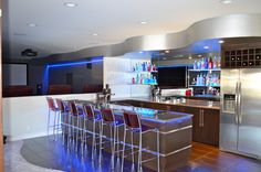 Basement Bar/ contemporary/ illuminated shelving