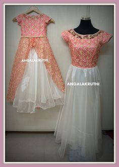 Mom and Me designs in Bangalore by Angalakruthi-Ladies boutique and daughter matching dresses Mom And Daughter Matching, Mother Daughter Outfits, Mom Daughter, Mother Daughters, Baby Frock Pattern, Frock Patterns, Baby Dress Patterns, Mom And Baby Dresses, Mom Dress