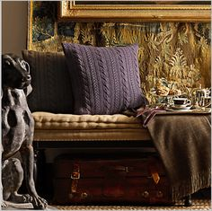 Ralph Lauren Aran Cashmere Pillow, Love the tufted bench cushion, the tapestry hanging on the wall, the scones on the silver pedestal tray. Tufted Bench, Sweater Pillow, Ralph Lauren Style, Warm Blankets, Burlap, Tapestry, Throw Pillows, Knitting, Inspiration