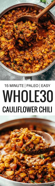 Chili made with cauliflower paleo vegan Full of flavor healthy and satisfying The kind of homecooked meal that makes you all comfy inside Recipe can be made ahead. Whole30 Dinner Recipes, Paleo Dinner, Whole Food Recipes, Paleo Meals, Vegetarian Recipes, Healthy Recipes, Freezer Meals Healthy, Dinner Healthy, Easy Whole 30 Recipes