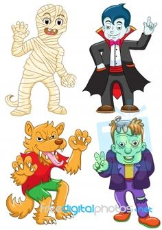 A Selection Of Halloween Inspired Cartoons By Akarakingdoms Available To Download For Free Or Purchase