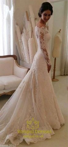 e6a6e8c0b7df White Lace Off The Shoulder Sheer Long Sleeve Wedding Dress With Train  #laceweddingdresses