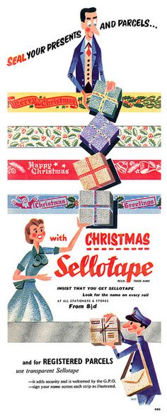 Every year i walk the Christmas wrap section of the stores hoping to find the holiday sellotape my mom used back in the 60's and 70's.