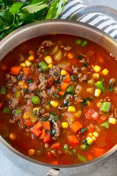 This hearty hamburger soup is loaded with potatoes and vegetables, all in a savory broth. The perfect easy dinner option that the whole family will love!