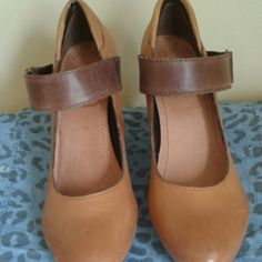 Nicole brown leather shoes Unique strap with buckle, ribbets comfy  heel shoes Shoes