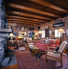 Rustic interior. Simply Home, Hobbit Hole, Mountain Living, Cozy Cabin, Cabins In The Woods, Rustic Interiors, Ann, House Ideas, Living Room