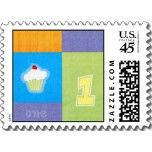 For your little cupcake's first birthday invitations -- matching postage stamps! Get yours at PartyMerch.com.