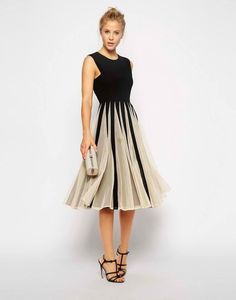 Mesh Fit And Flare Midi Dress| 10 Black Homecoming Dresses From Our Favorite Online Shops