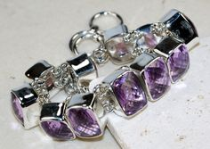 Pink Amethyst bracelet designed and created by Sizzling Silver. Please visit  www.sizzlingsilver.com. Product code: BR-8909