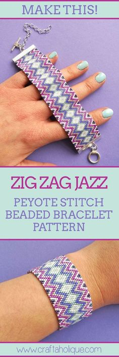 This is a very pretty and fun bracelet to make! Follow my easy peyote stitch bracelet pattern which has a visual bead chart, a word chart and instructions on how to make different sizes. Find out more at Craftaholique...