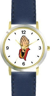 Hands in Prayer Christian Theme - WATCHBUDDY® DELUXE TWO-TONE THEME WATCH - Arabic Numbers - Blue Leather Strap-Children's Size-Small ( Boy's Size & Girl's Size ) WatchBuddy. $49.95