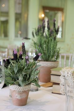Lavender pots could be added to tables with flower arrangements