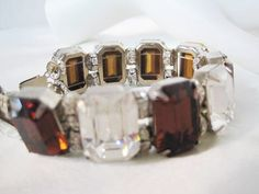 Excited to share the latest addition to my #etsy shop: Topaz Rhinestone Bracelet - Vintage Jewelry - Clear Large Wide - 80's Links