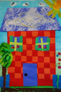 Paper House Collage Using Paper Weaving Art Projects in house painting lessons Tech Art, Paper Weaving, Weaving Art, First Grade Art, Winter Art Projects, Weaving Projects, Kindergarten Art, Art Lessons Elementary, Painted Paper
