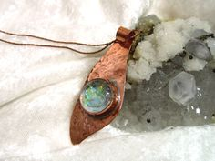 Clear Opalized Pendant, Copper Pendant, Copper Necklace. Hand Forged Pendant, Hammered Pendant on Etsy, $45.00