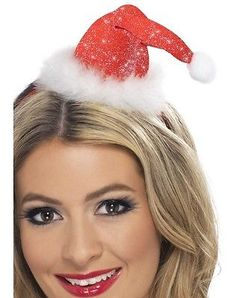 #Ladies christmas fancy dress mini santa #claus tinsel hat on band #28420 #smiffy,  View more on the LINK: http://www.zeppy.io/product/gb/2/332036039265/