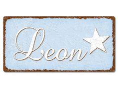Dekoschild mit Name oder Wunschtext im Vintage Style 200 x 100 mm hellblau. Dekoschild mit Name oder Wunschtext im Vintage Style 200 x 100 mm  Zaubern Sie